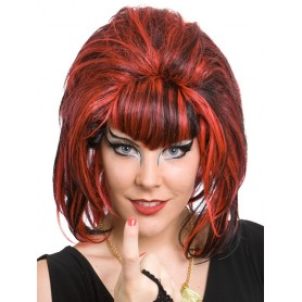 Samantha Black & Red Short Beehive Wig