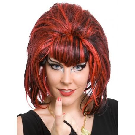 Samantha Black & Red Short Beehive Wig