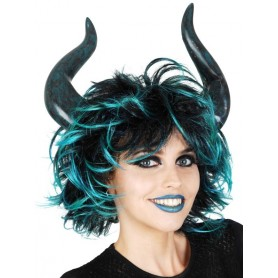 She Devil with Horns Turquoise & Black