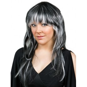 Lucia Black White Layered Wig