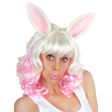 Miss Bunny White & Pink Wig with Ears