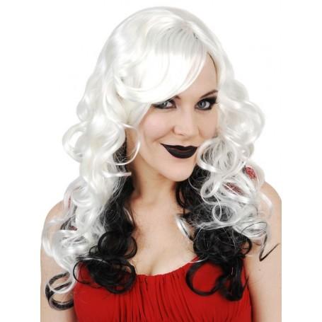 Celia Long Platinum with Black Wig