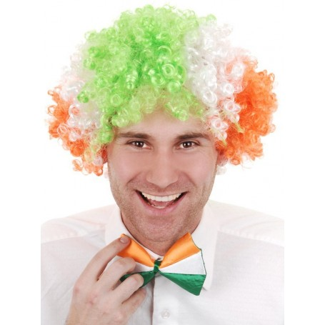 CLOWN Wig Green, White & Orange