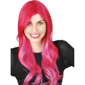 Fuchsia 2 Tone Pink Wig Long with Fringe