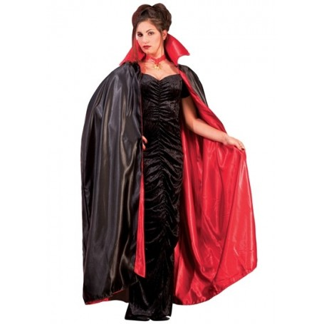 Satin Reverse Cape Red & Black 56""