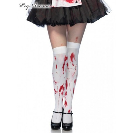 Bloody Zombie Thigh Highs WHITE/RED