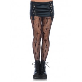Worship Me Cross Net Tights