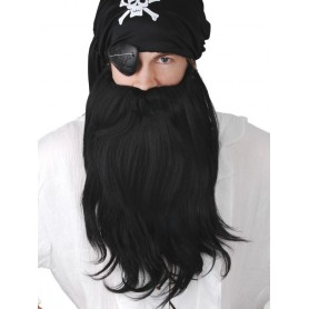 Pirate Beard and Mo Jumbo Set Black
