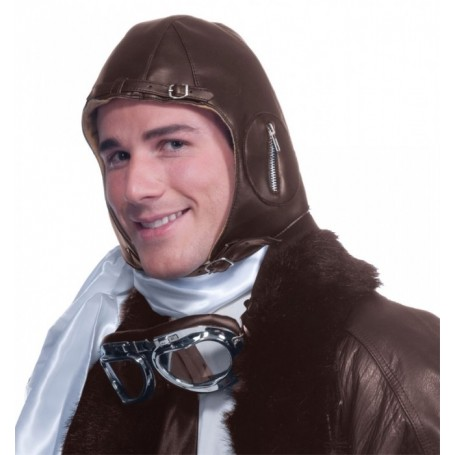 Deluxe Faux Leather Aviator Helmet - Brown