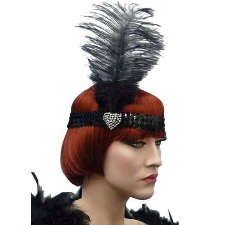 Crystal Heart Black Flapper Headband