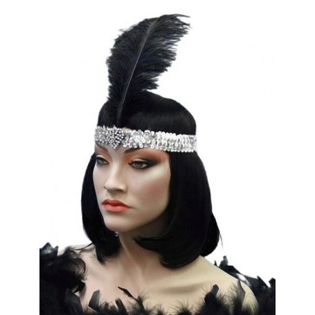 Crystal Heart Silver Flapper Headband