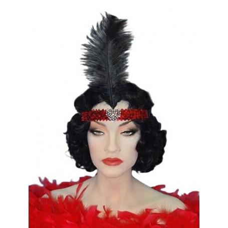 Crystal Heart Red Flapper Headband