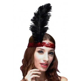 Red Sequin Flapper Headband With Feather