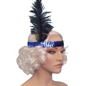 Blue Sequin Flapper Headband With Feather