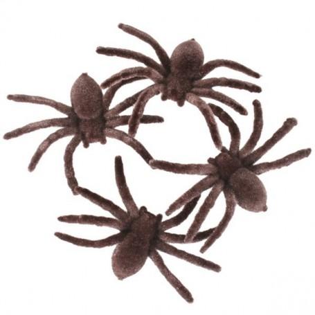 Spiders Flocked Brown 7cm 4 Pack