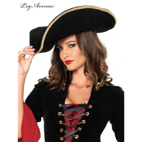 Unisex Pirate Hat with Gold Trim