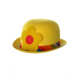 Clown Bowler Costume Hat Yellow