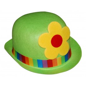 Clown Bowler Costume Hat Green