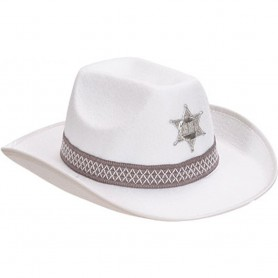 Cowboy Sheriff Hat - White