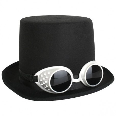 Steampunk Black Top Hat with Goggles