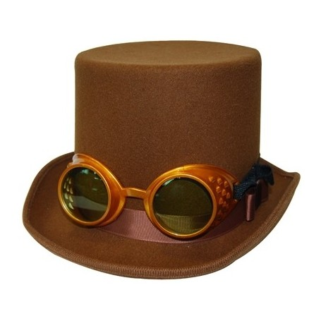 Steampunk Top Hat with Gold Goggles