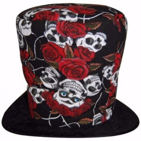 Skull and Rose Grave Digger Top Hat