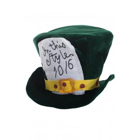 Plush Deep Green Velvet Mad Hatter Top Hat