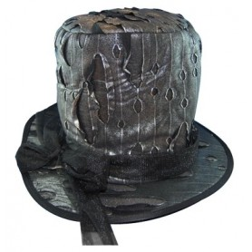 Torn Gravediggers Hat - Metallic Black