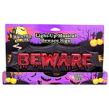 Horror Beware Sign Light Up with Music