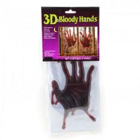 3D Blood Hands 1 Pair Window Cling