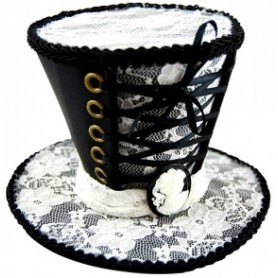 Mini Top Hat Hair Clip - Black & White
