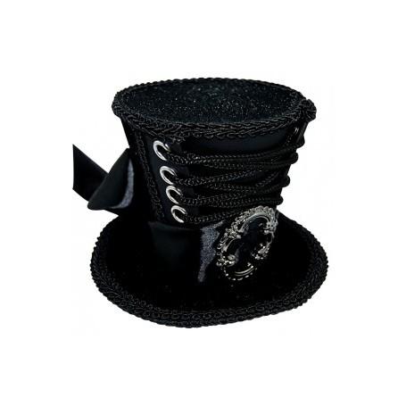 Mini Top Hat Hair Clip - Black