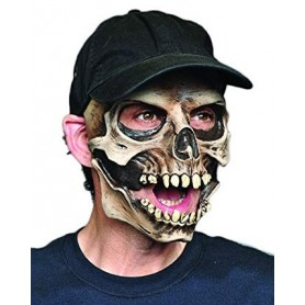 Skull Halloween Mask With Cap And Moving Mouth