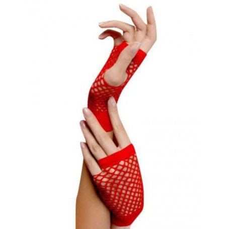 Red - Short Fishnet Gloves