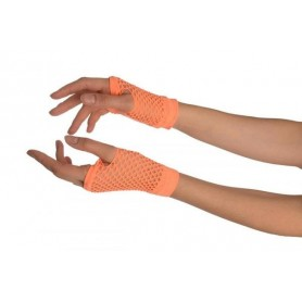 Neon Orange - Short Fishnet Fingerless Gloves