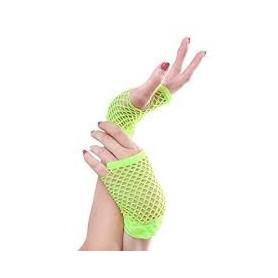 Neon Green - Short Fishnet Fingerless Gloves