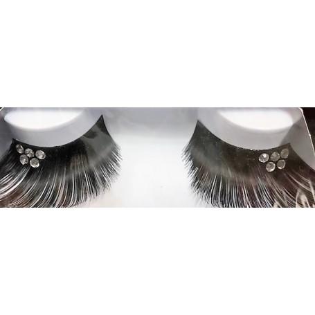 False Eyelashes - Jumbo Black W/Crystals