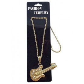 Necklace Gold Guitar Metal