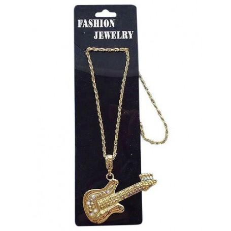 Necklace Gold Guitar Metal