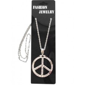 Peace Sign-Silver Metal Necklace