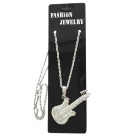 Silver Guitar- Metal Necklace