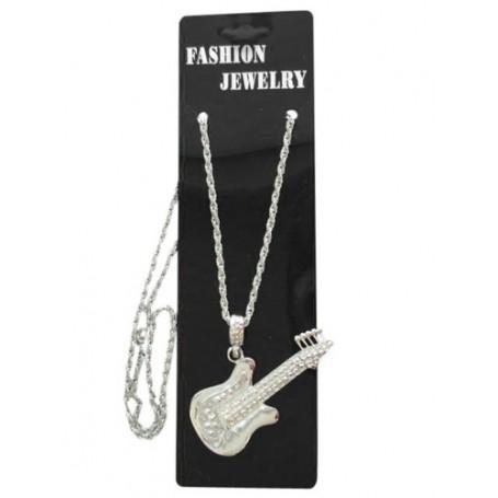 Silver Guitar- Metal Necklace