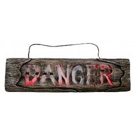Wooden Look Sign W/Lights - Danger