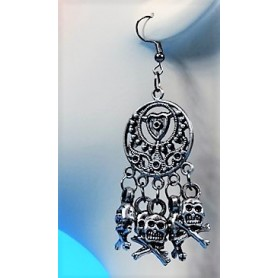 Skull Earrings - old silver