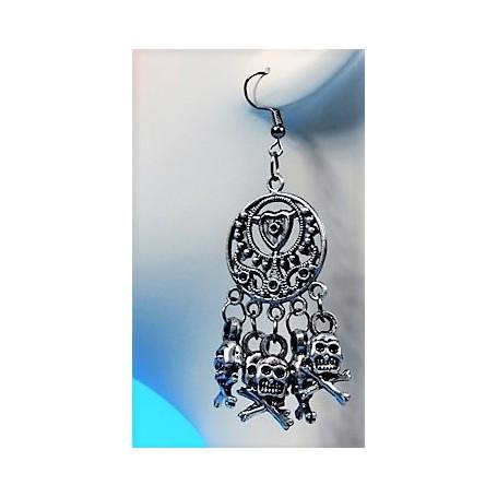 Skull Earrings - old silver