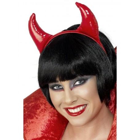 Halloween Red Vinyl Devil Horns on Headband