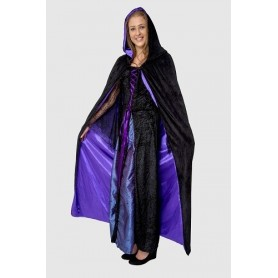 Adult Hooded Reversible Satin Lined Cape - Black/Purple Satin