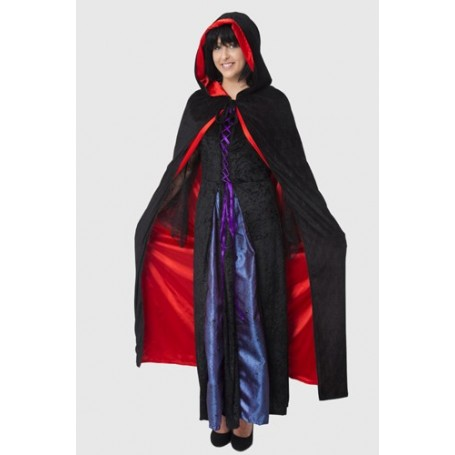 Hooded Reversible Satin Lined Cape - Black/Red - Adult