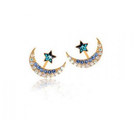 Moon and Star Crystal Rhinestone Stud Earrings