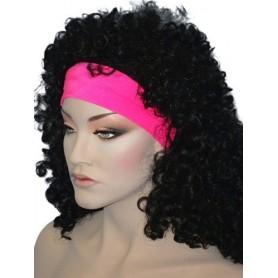 Headband - 80S Headband Lycra - Neon Pink